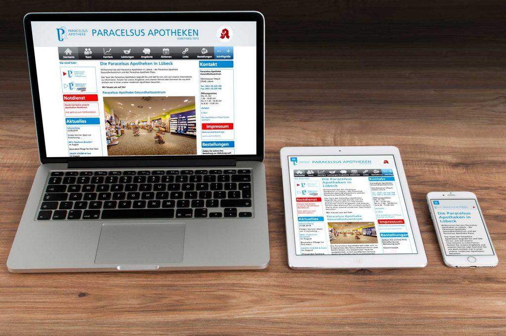Internetseite der Paracelsus Apotheken Lübeck